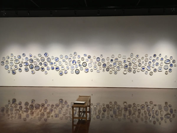 The Last Supper: 700 Plates Illustrating Final Meals of U.S. Death Row Inmates installation view at Texas State Galleries (click to enlarge).