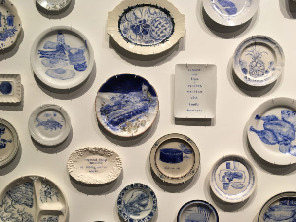 The Last Supper: 700 Plates Illustrating Final Meals of U.S. Death Row Inmates installation view at Texas State Galleries (click to enlarge)