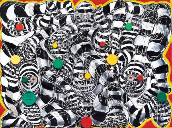 Bloodshot Eyes, Trippy Patterning, Red, Green and Yellow Coloration, Yep, This Piece is About Traffic Lights