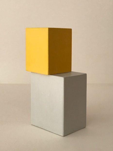Jeff Kellar,Blocks (BYG1), 2017, resin, clay and pigment on wood, 9 x 2 1/2 x 3 in.