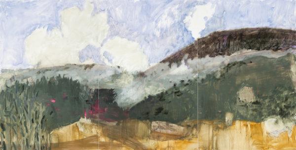 Fog Gate, 2016, oil on yupo, 40 x 78 inches