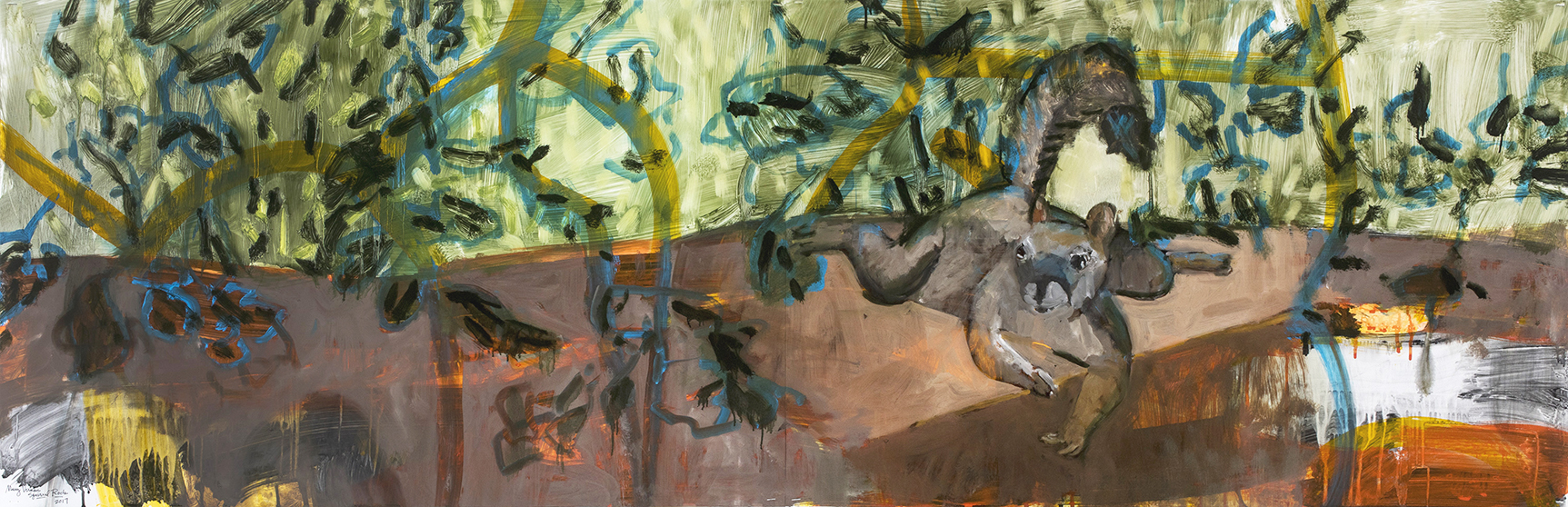 Squirrel Rock, 2017, oil, ink and graphite on yupo, 26 x 80 inches