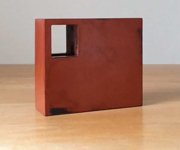 Jeff Kellar, Compartment #8 (red), 2017, resin, clay and pigment on wood, 5 x 5 ¾ x 2 in.