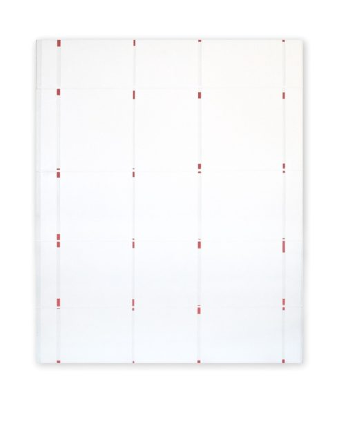 Jeff Kellar, Glimpse 23 (White Red), 2017, resin, clay and pigment on aluminum composite panel, 22 1/2 x 18 1/2 in.