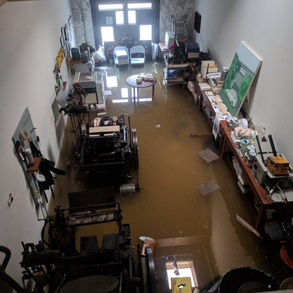 Sarah Welch and James Beard's studio during Hurricane Harvey (Image courtesy of Sarah Welch).