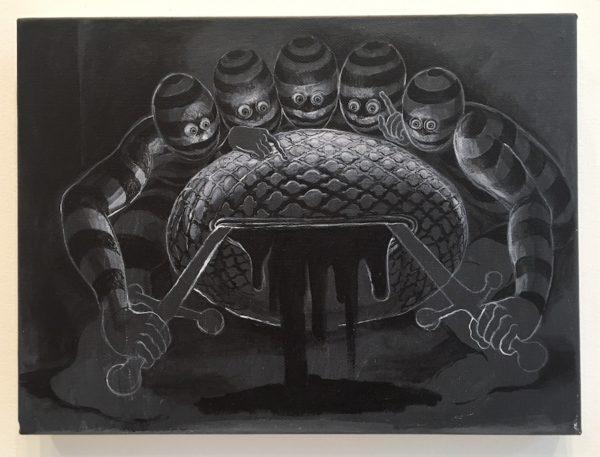 Letting, 2015, acrylic on canvas, 9 x 12 inches, courtesy Trenton Doyle Hancock and James Cohan Gallery, New York