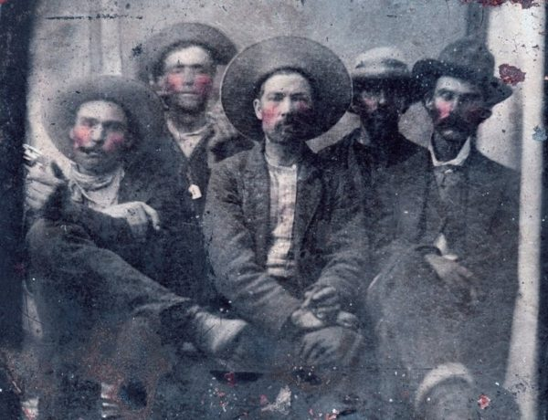 Historians believe Billy the Kid is second from left, and Pat Garrett is far right, in a photo taken in 1880. Via the NYTimes and Frank Abrams.