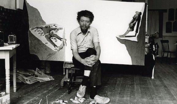 Benny Andrews in his studio.