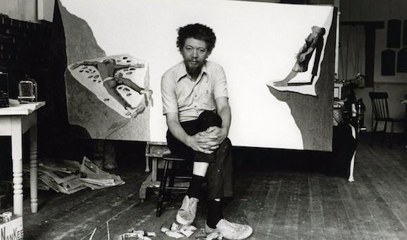 Benny Andrews in his studio.