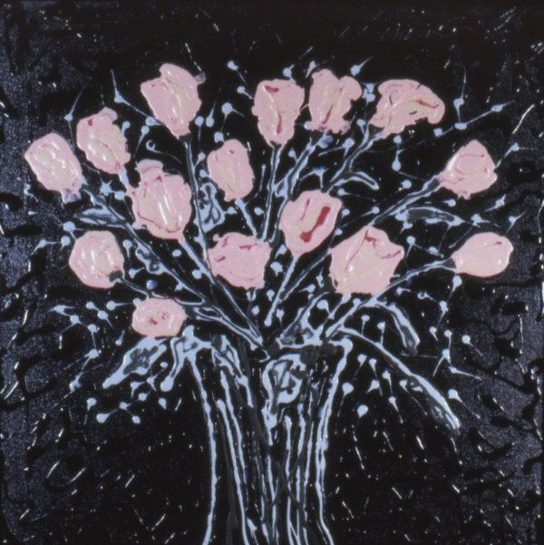 "Mel Casas, ""Roses Anyone?"" acrylic on canvas, 1999, 24 x 24"""