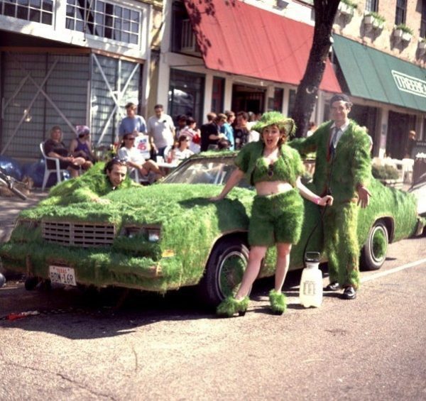 Gene Pool, Grass Car and Grass Suits, 1992, Art Car Parade, Houston (L. to R. - Gene Pool, Sasha Sumner, the author.)