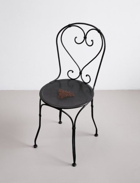 Jardin public, 1993. Painted wrought iron, wax, and pubic hair. 32 1/2 x 15 1/2 x 19 1/4 inches