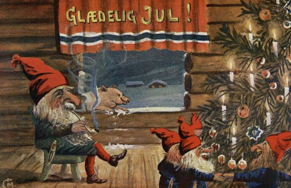 A Christmas card circa 1917 via the National Library of Norway