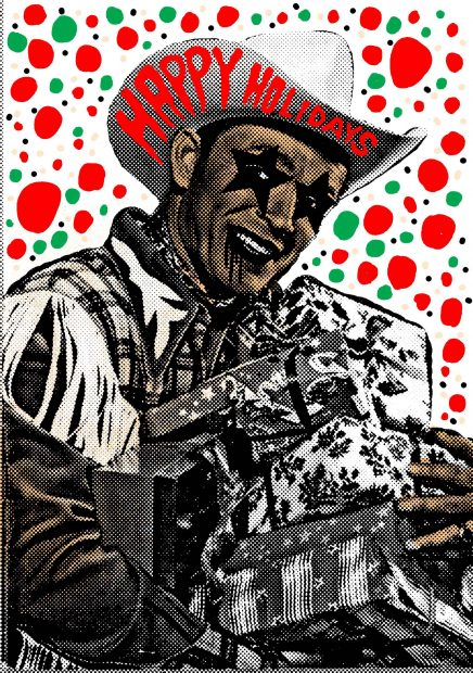 Illustration for Glasstire by Houston artist Carlos Hernandez of Burning Bones Press
