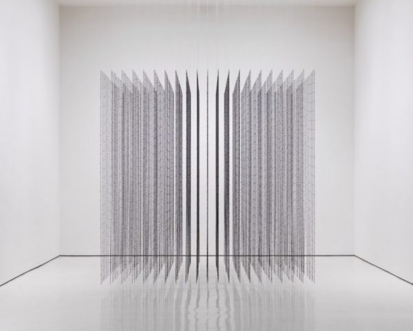Impenetrable, 2009. Black finished steel and fishing wire, 118 x 118 x 118 inches.