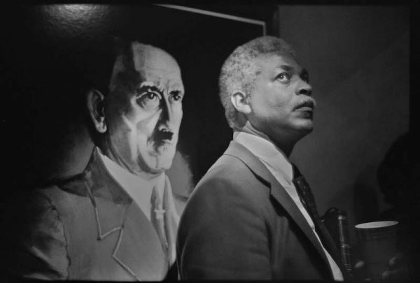 """Adolf Hitler and Ben Kinchlow at the 700 Club, 1985, Gold tone silver gelatin, 20"""" x 24"""""""