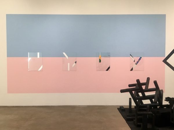 Houston Color-Space Initiative #1 and COEV Compositions #13, #14, #8, and #6; 2016, 2018; Interior enamel, acrylics and mirrored glass; 102.75 x 102.75 inches.