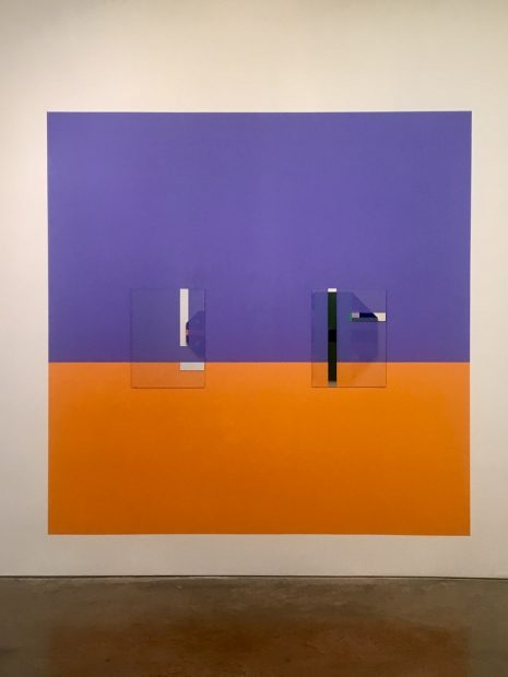 Houston Color-Space Initiative #2 and COEV Compositions #7 and #10; 2016, 2018; Interior enamel, acrylics and mirrored glass; 102.75 x 205.5 inches.