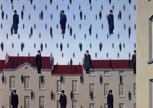 René Magritte, Golconda, 1953, Oil on canvas. The Menil Collection, Houston.