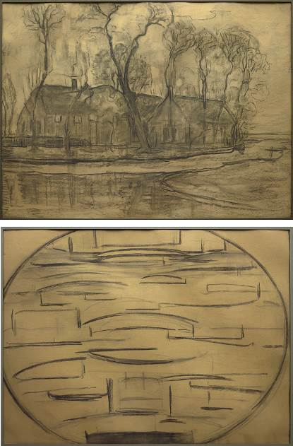 Piet Mondrian, Farm Near Duivendrecht (recto), The Sea (Ocean 2) (verso), c. 1905–14, charcoal on paper, Dallas Museum of Art, gift of Ann Jacobus Folz, 2017.