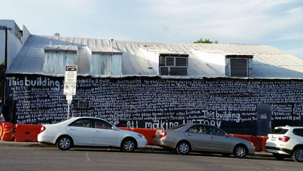 Tim Kerr's mural with text by Michael Corcoran is at the corner of Red River and 7th Streets in Austin.
