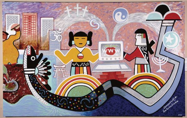Michael Kabotie and Delbridge Honanie, Journey of the Human Spirit – Hope: Confusion and Hope (Panel 6), 2001, acrylic on canvas, Courtesy of the Museum of Northern Arizona, © Gene Balzer