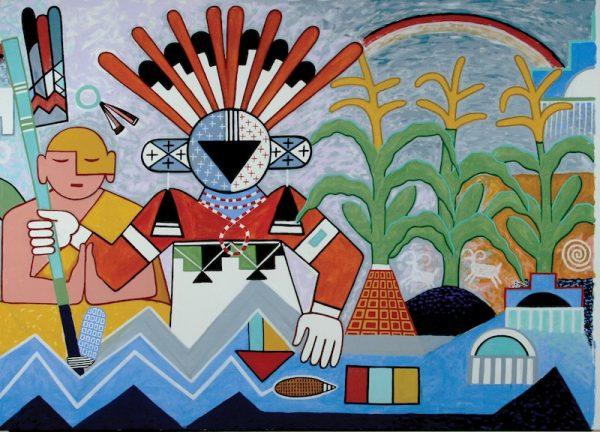 Michael Kabotie and Delbridge Honanie, Journey of the 13. Human Spirit – Middle Place: The Purification (Panel 4), 2001, acrylic on canvas, Courtesy of the Museum of Northern Arizona, © Gene Balzer