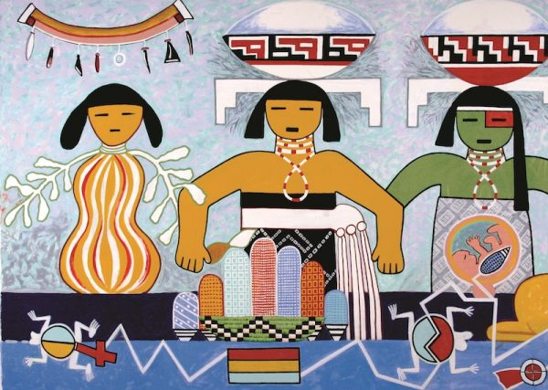 Michael Kabotie and Delbridge Honanie, Journey of the Human Spirit – Middle Place: The Rebirth (Panel 3), 2001, acrylic on canvas, Courtesy of the Museum of Northern Arizona, © Gene Balzer
