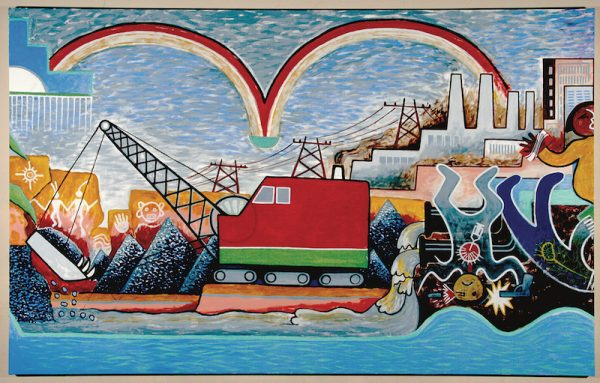 Michael Kabotie and Delbridge Honanie, Journey of the 14. Human Spirit – Rational Side: The Dysfunction (Panel 5), 2001, Acrylic on canvas, Courtesy of the Museum of Northern Arizona © Gene Balzer