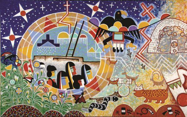 Michael Kabotie and Delbridge Honanie, Journey of the Human Spirit – The Emergence (Panel 1), 2001, acrylic on canvas, Courtesy of the Museum of Northern Arizona, © Gene Balzer