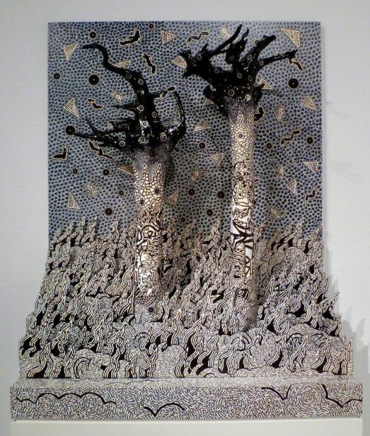 "Sendai, acrylic on wood and sintra, 52 x 44 x 19.5"""