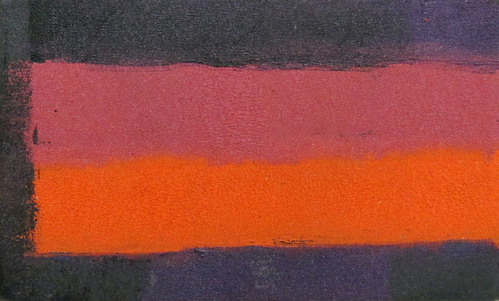 "Untitled (Purple, Pink, Orange), 1959, oil on masonite, 4.75"" x 7.75"", courtesy William Reaves-Sarah Foltz Fine Art LLC"