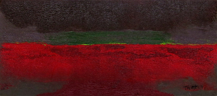 "Untitled (Green Horizon), 1959, Hyplar on board, 4"" x 8.5"", courtesy William Reaves 
