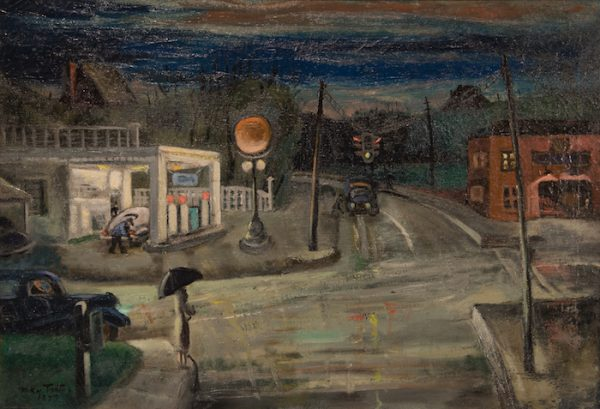 """Intersection, 1947, oil on canvas, 25"""" x 30"""", collection of Judge and Mrs. B. Michael Chitty"""