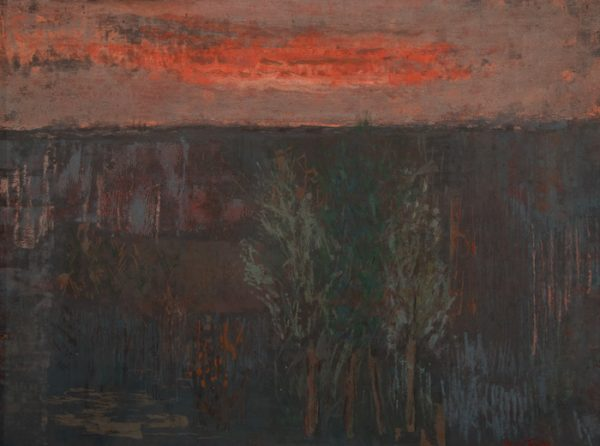 """Late Evening Landscape, undated, oil on canvas, 30"""" x 22"""", collection of Holly Trotter Crochet"""