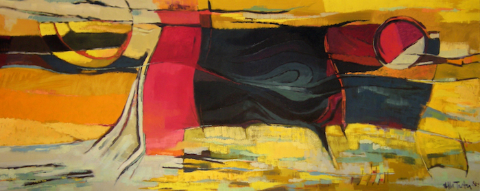"Southwestern Landscape #3, 1956-57, oil on canvas, 42"" x 108"", collection of David Dike"