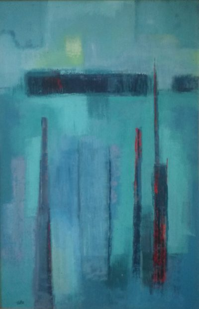 "Winter #4, 1960, casein on masonite, 50"" x 32"", courtesy William Reaves 