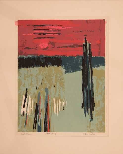 "Winterscape, undated, silkscreen, 20"" x 15.5"", courtesy William Reaves 
