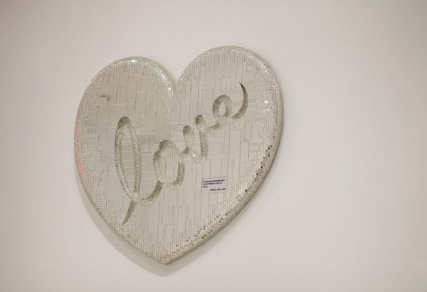 """Forrest Prince, """"Soulmates Becomming One and Entering a Sea of Bliss"""", 1986, wood, mirror, paint"""