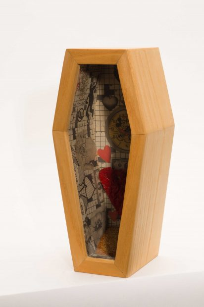 Lester Davis, Valentine, Wood, collage, glitter, plastic