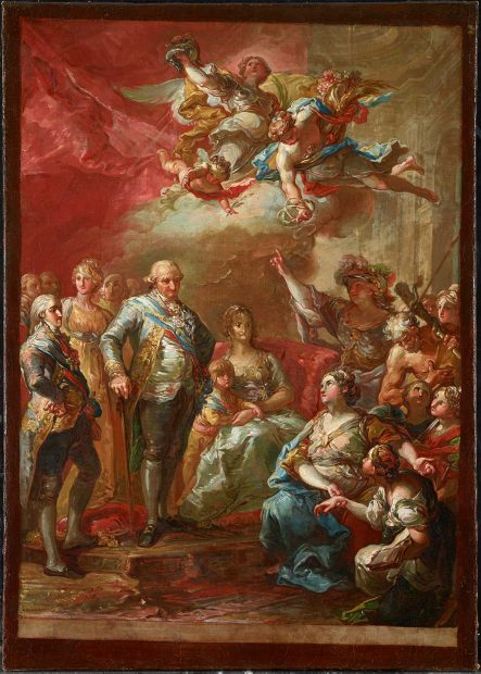 Vicente Lopez y Portaña (Spanish, 1772–1850), Charles IV and His Family Honored by the University of Valencia, 1802. Oil on canvas, 21 1/4 x 15 in. (54 x 38 cm). Meadows Museum, SMU, Dallas. Museum purchase in memory of Nicole Atzbach with funds from The Meadows Foundation, MM.2017.04. Photo by Kevin Todora.