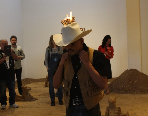 Violent Erotics: A Dream With A Vaquero, performance organized by Rafa Esparza, performer Sebastian Hernandez, Artpace