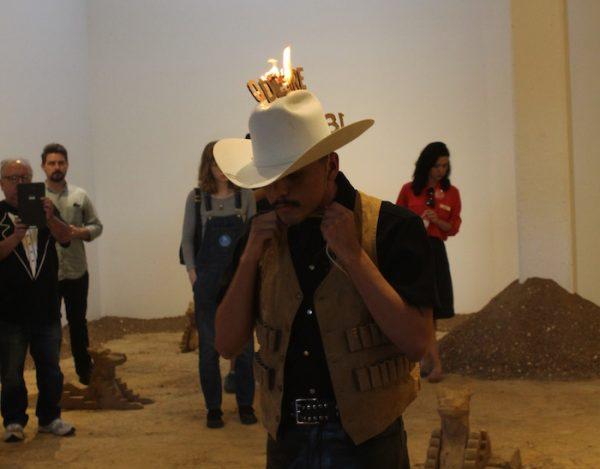 Violent Erotics: A Dream With A Vaquero, performance organized by Rafa Esparza, performer Sebastian Hernandez, Artpace