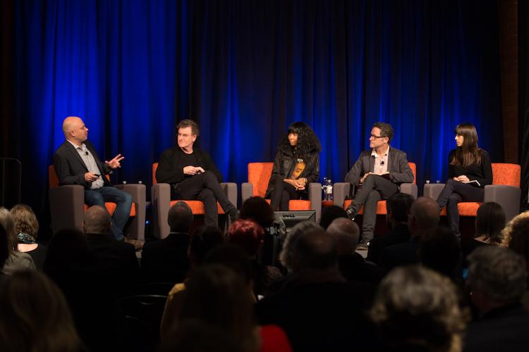 L to R: Ben Davis, Alfredo Jaar, Lauren Woods, and Jill Magid