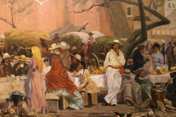 Thomas Allen, Market Plaza, oil on canvas (detail)