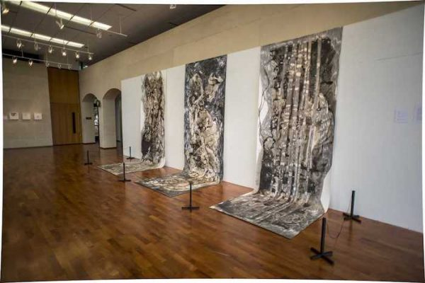 Misoo Filan Title (from left to right): Untitled, Waterfall, Bartholomew, Medium: India Ink and Pencil on Typo paper, Size: 15'x5' Year: 2016