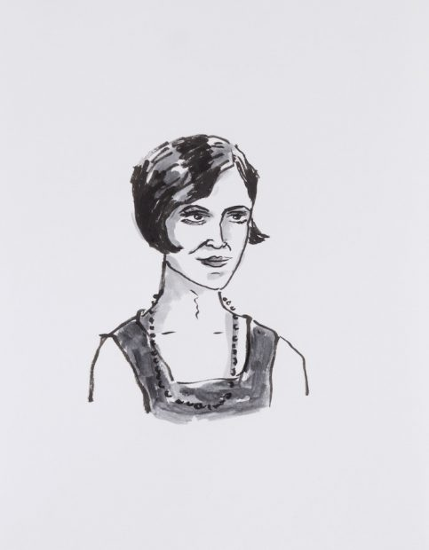 """Portrait of Consuelo """"Chelo"""" González Amézcua / Ink on paper Drawing by Mary Lawton"""