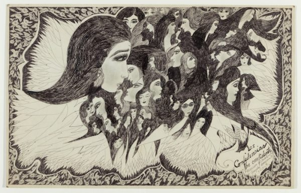 "Consuelo ""Chelo"" González Amézcua, Las Confidencias, 1971 Pen and ink on illustration board, 14""x 22"" Courtesy of Webb Gallery, Waxahachie. Photograph by Kevin Todora"