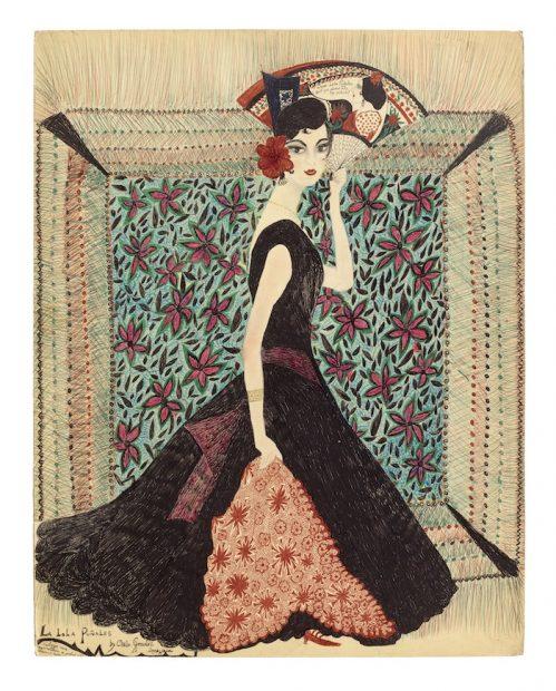 "Consuelo ""Chelo"" González Amézcua, <em>La Lola Puñales</em>, 1966. Pencil and ink on paper, 28"" x 22"". Private collection, Houston. Photograph by Thomas DuBrock."