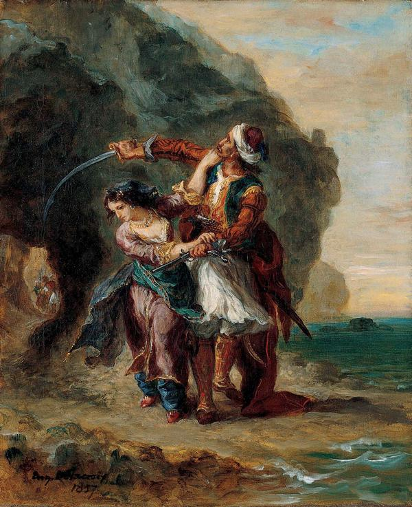 Selim and Zuleika, Eugène Delacroix, 1857, Oil on canvas, collection of the Kimbell